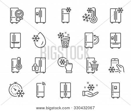 Fridge Line Icons. Refrigerator, Freezer Storage, Smart Fridge Machine. Water With Ice, Cooler Box,