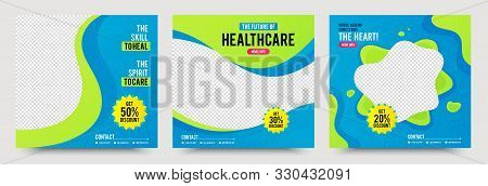 Healthcare Post Template. Medical Promotion Square Web Banner. Mail Newsletter Layouts. Social Media