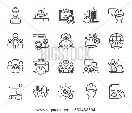 Engineering Line Icons. Teamwork, People And Technical Documentation. Blueprint With Gear, Engineer