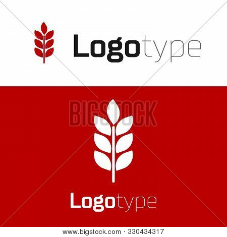 Red Cereals Set With Rice, Wheat, Corn, Oats, Rye, Barley Icon Isolated On White Background. Ears Of
