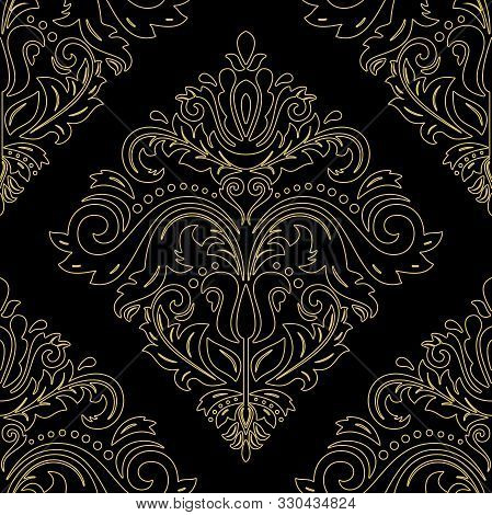 Orient Vector Classic Pattern. Seamless Abstract Background With Vintage Golden Think Elements. Orie