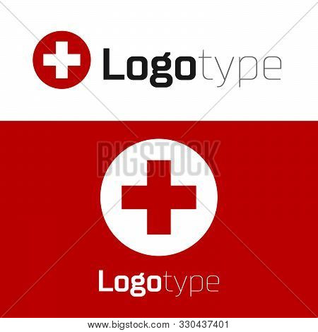 Red Medical Cross In Circle Icon Isolated On White Background. First Aid Medical Symbol. Logo Design