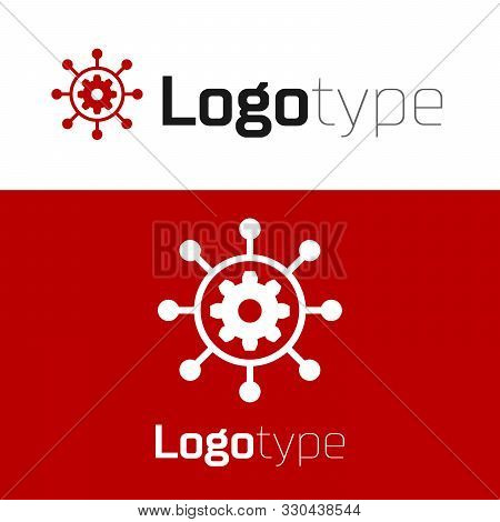 Red Project Management Icon Isolated On White Background. Hub And Spokes And Gear Solid Icon. Logo D