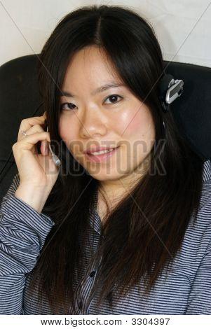 Woman Using Headphone