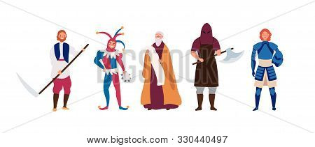 Medieval Male Characters Flat Vector Illustrations Set. Cartoon Executioner, Peasant, Herald, Brave