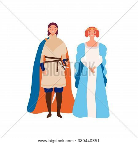 Royal Couple Flat Vector Illustration. Medieval King And Queen Cartoon Characters. Prince And His La