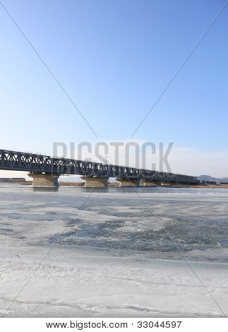 Bridge Through  River Covered  Ice