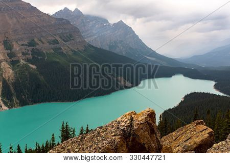 Panoramic View Of Turquoise Lake Peyto With Surrounding Mountains And Forest In The Valley During Su
