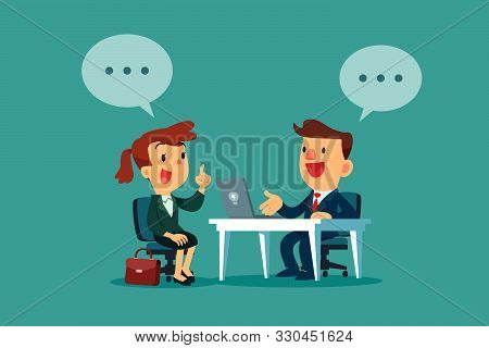 Businesswoman With Dialogue Bubble Having A Job Interview In The Office. Business Recruitment Concep