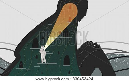 Mindfulness And Self Analysis Flat Vector Illustration. Woman With Flashlight Searching Spirit Depth