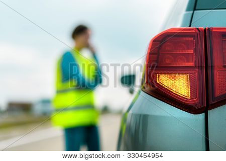 Vehicle Breakdown On The Road, Woman Using Phone To Ask For Help And Roadside Assistance