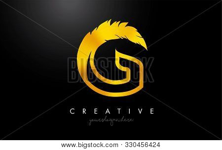 G Golden Gold Feather Letter Logo Icon Design With Feather Feather Creative Look Vector Illustration