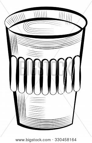 Black Coffee In Disposable Paper Or Plastic Glass Isolated Monochrome Sketch Icon. Vector Container
