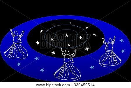 Cosmic dance. Whirling dervishes.  Whirling motion as a single mechanism.Sufi religious dance. Illustration, background. poster