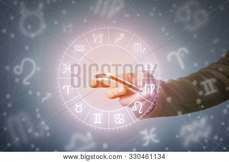 Astrology Call Center Concept With Smart Phone