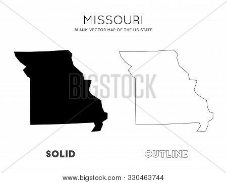 Missouri Map. Blank Vector Map Of The Us State. Borders Of Missouri For Your Infographic. Vector Ill