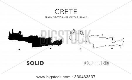 Crete Map. Blank Vector Map Of The Island. Borders Of Crete For Your Infographic. Vector Illustratio