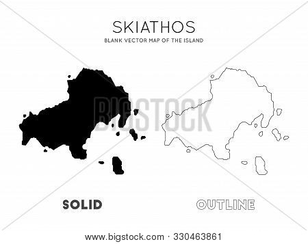 Skiathos Map. Blank Vector Map Of The Island. Borders Of Skiathos For Your Infographic. Vector Illus