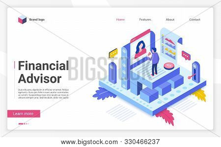 Financial Advisor Vector Isometric Landing Page Template. Business Strategy Website Homepage Interfa