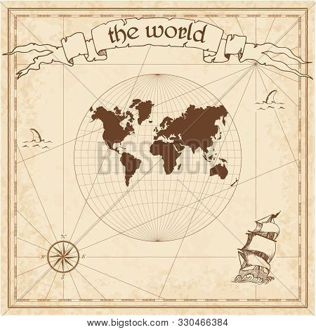 World Pirate Map. Ancient Style Navigation Atlas. Van Der Grinten Projection. Old Map Vector.