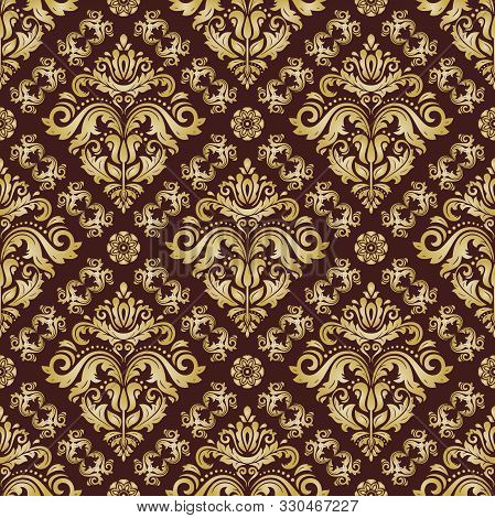 Classic Seamless Vector Pattern. Damask Orient Ornament. Classic Vintage Background. Orient Brown An