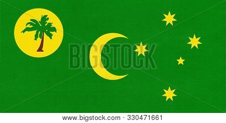 Territory Of Cocos Islands National Fabric Flag Textile Background. Symbol Of International World As