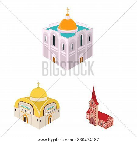 Isolated Object Of Architecture And Building Logo. Collection Of Architecture And Clergy Vector Icon