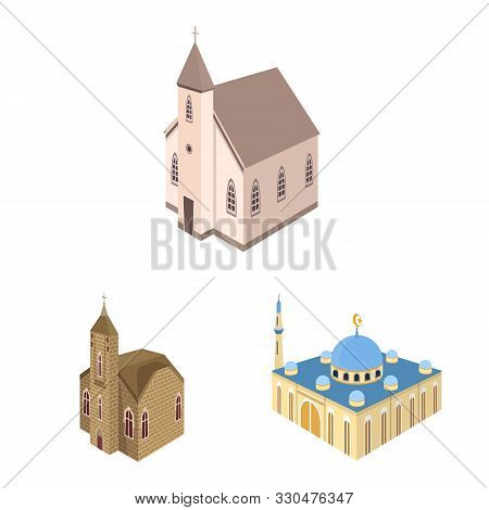 Isolated Object Of Architecture And Building Icon. Set Of Architecture And Clergy Stock Vector Illus