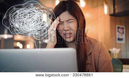 Asian Businesswoman In Casual Suit Working Head In Hand Action With Stress Emotion And Polygonal Bra