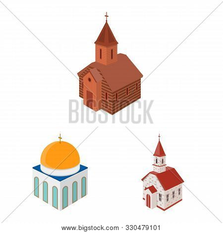 Vector Illustration Of Architecture And Building Sign. Set Of Architecture And Clergy Stock Symbol F