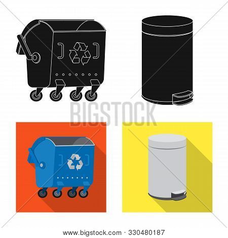 Isolated Object Of Refuse And Junk Logo. Set Of Refuse And Waste Vector Icon For Stock.