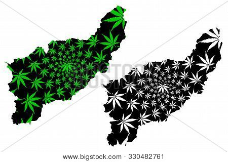 Uttaradit Province (kingdom Of Thailand, Siam, Provinces Of Thailand) Map Is Designed Cannabis Leaf