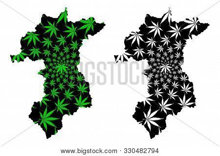Yala Province (kingdom Of Thailand, Siam, Provinces Of Thailand) Map Is Designed Cannabis Leaf Green