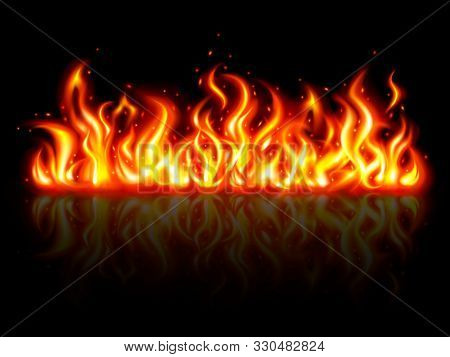 The Red Fire Flames And Reflection Background