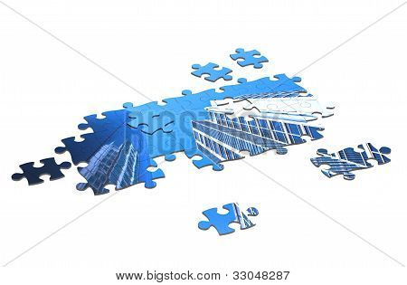 3D jigsaw puzzle with building.