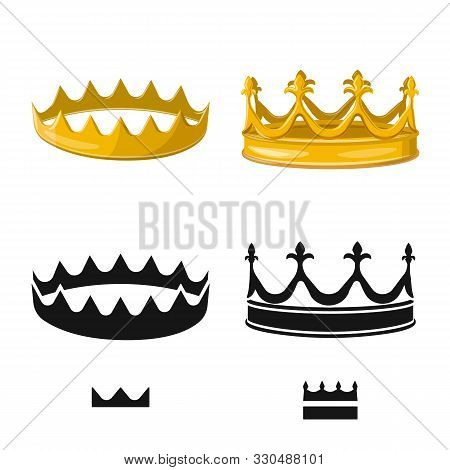 Vector Illustration Of Medieval And Nobility Symbol. Collection Of Medieval And Monarchy Vector Icon