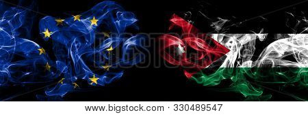 Eu, European Union Vs Jordan, Jordanian Smoke Flags Placed Side By Side. Thick Colored Silky Smokes