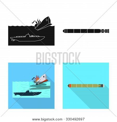 Isolated Object Of War And Ship Logo. Set Of War And Fleet Stock Vector Illustration.