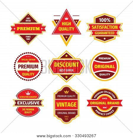 Business Badge Vector Set In Retro Design Style. Abstract Logo. Premium Quality. Satisfaction Guaran