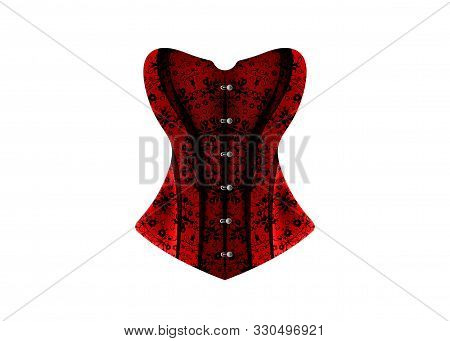 Luxury Corset. Lace Black And Red Vintage Corset. Vector Design Isolated On White Background