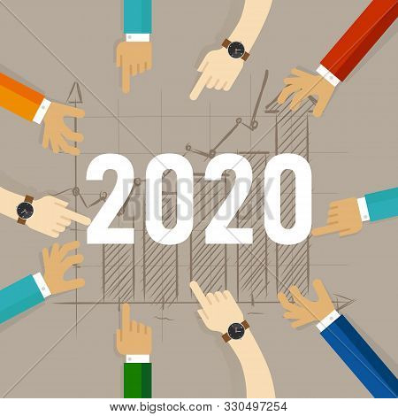 Team Hands Looking At Growth In The Future Year Of 2020. Working Together Looking For Improvement In