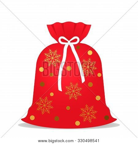 Santa Claus Sack Full Of Presents. Red Sack With Golden Stars And Snow.