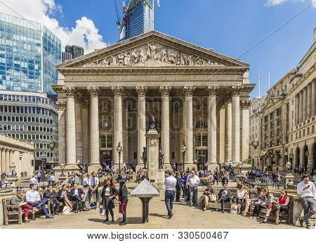 London. May 21 2019. The Royal Mexchange Building At Bank Junction In The City Of London In London