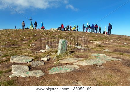 Top Of Mount Hoverla With People, The Highest Mount Of Ukraine Carpathian Pountains