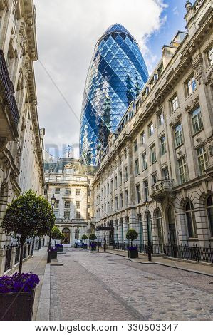 London. May 21 2019. The Gherkin Building Also Known As Re Insurance In The City Of London In London