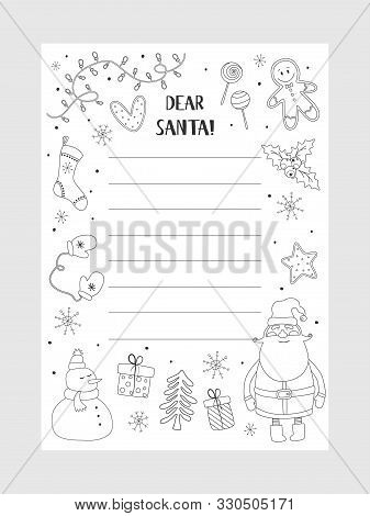 Cartoon Christmas Wish Christmas Items. Coloring Page. A Letter To Santa Claus Template. Christmas B