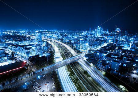 Aerial  View Of Tel Aviv At Night - Tel Aviv Cityscape