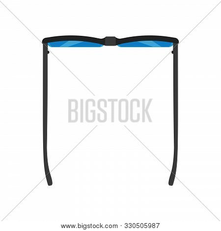 Glasses Vector Icon Top View Sign. Isolated Wear Eyesight Business Accessory. Specs Black Frame Flat