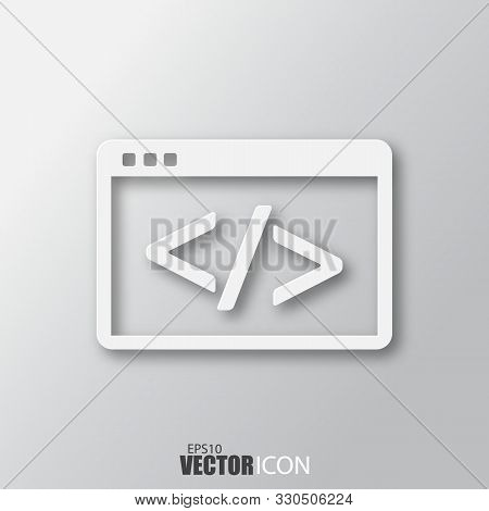 Code Icon In White Style With Shadow Isolated On Grey Background.