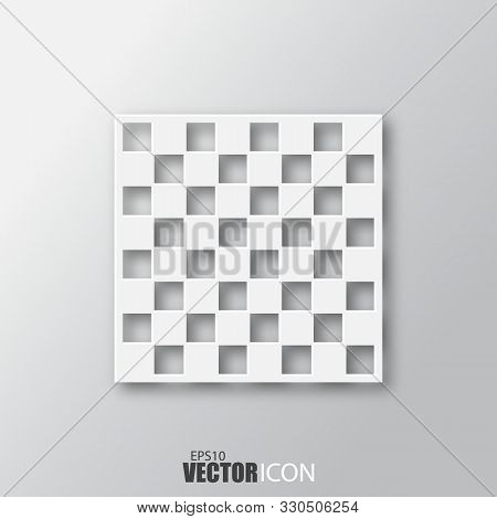 Chess Board Icon In White Style With Shadow Isolated On Grey Background.